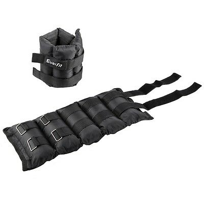 NEW Black 2x 5 KG Wrist Ankle Weights Gym Training with Adjustable Pair Strap