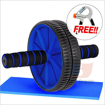 Abdominal Gym Fitness Wheel Roller And Free Knee Pad + Free Exercise Power Hand