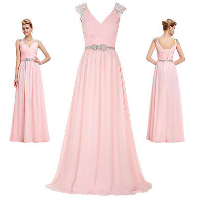New Long Chiffon Ball Prom Gown Formal Bridesmaid COCKTAIL Dress Wedding Evening