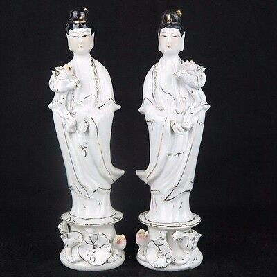 """Pair of Guanyin Kwan Yin Mercy Goddess Porcelain Figurines Statues 8"""" tall New"""