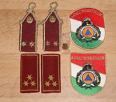 Set of 6 Patches and Pin Badge Katasztrófavédelem Fire Service, Hungary
