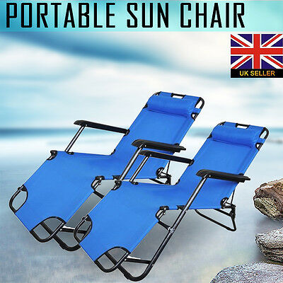 2x Folding Sun Bed Lounge Reclining Beach Chair Outdoor Garden Patio Camping