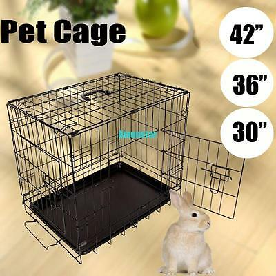 """30""""/ 36""""/ 42"""" Collapsible Dog Kitten Puppy Pet Cage Crates Enclosure Pet Kennel"""