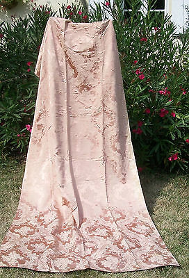 Antique French Fabric Panel Satin Silk Apricot peach Cartouches Roses Curtain