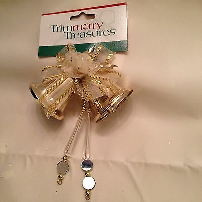 Christmas Gold Bells Mirrors Ribbon Gift Package Present Decoration NEW