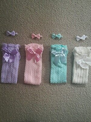 1 pair of Pastel knee high girls socks with free bow *mint and lilac*