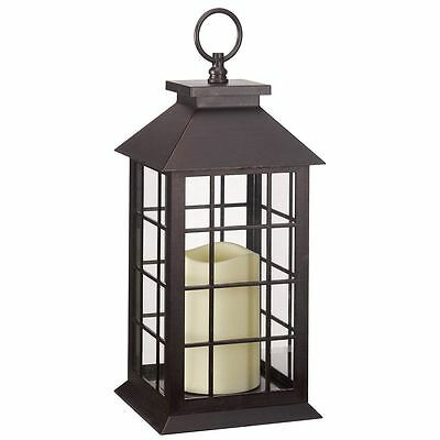 Battery Operated Window Lantern with Timer LED Candle Indoor Outdoor Flickering