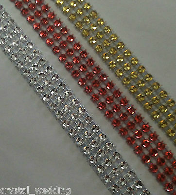 Diamante ribbon crystal cake trim Christmas pack in  Red- Silver-Gold