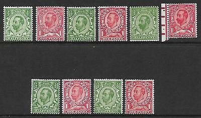 Sg 324-350 Set of 10 Basic GV Downey Heads inc Booklet stamps UNMOUNTED MINT