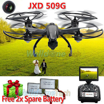 JXD 509G RC Drone Quadcopter with HD Monitor Camera 5.8G FPV 2MP+Free Battery UK