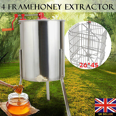 Four 4 Frame Honey Extractor Stainless Steel Drum Tank Equipment Beekeeping