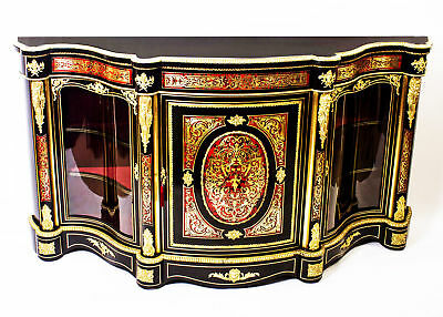 Antique Serpentine Boulle Cabinet Credenza c.1870