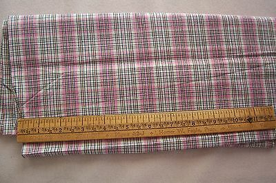 Vtg Antique 1800's 19TH Century PINK GINGHAM CHECK Fabric Quilt Doll Dress