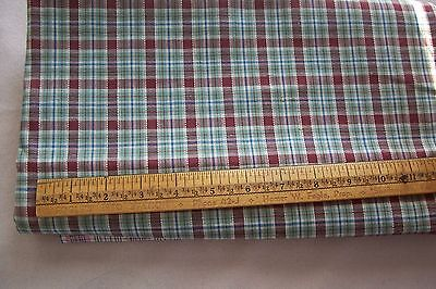 Vtg Antique 1800's 19TH Century GINGHAM CHECK Fabric Quilt Doll Dress