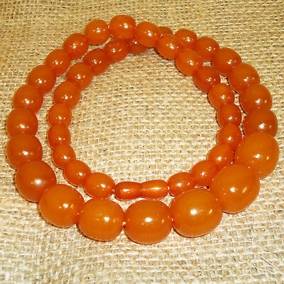 72gr Butterscotch Genuine Baltic Egg Yolk Amber Round Beads Necklace Natural 106