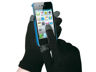 TOUCHSCREEN GLOVES BLACK UNIVERSAL SIZE iPHONE TABLET PSP SMARTPHONE