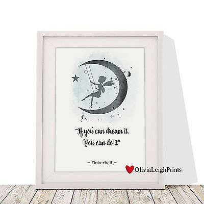 Disney Tinkerbell Word Art Quote Watercolour Art Print-Nursery Wall Art-Gift