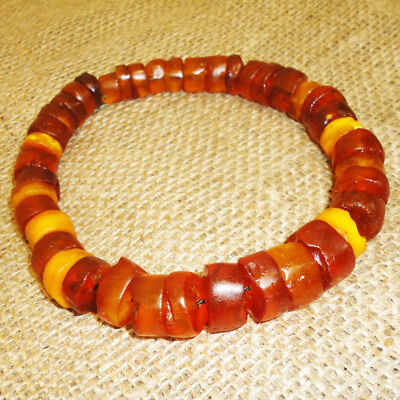 59gr! Genuine Baltic Egg Yolk Amber Round Beads, Vintage Necklace Very Nice, 108