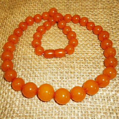Genuine Baltic Egg Yolk Amber Necklace 32gr Natural Round Beads Butterscotch 110