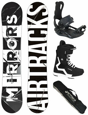 AIRTRACKS Snowboard Set Midnight Carbon Rocker+Bindung+Boots+Bag / 152 157 159cm