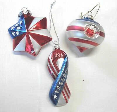 Lot 3 Blown Glass Patriotic Ornaments, Whimsical, 4Th July