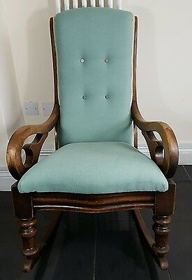 Victorian Antique American Rocking Chairs - Upholstered Seat/Back New Cushioning