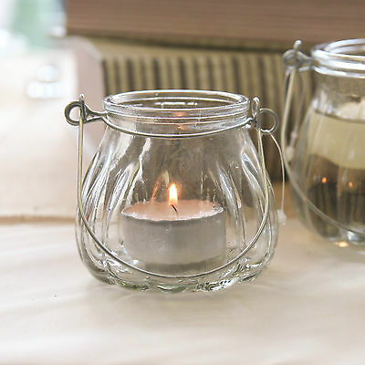 Glass Tea Light Candle Holder with Metal Handle Wedding Table Decoration