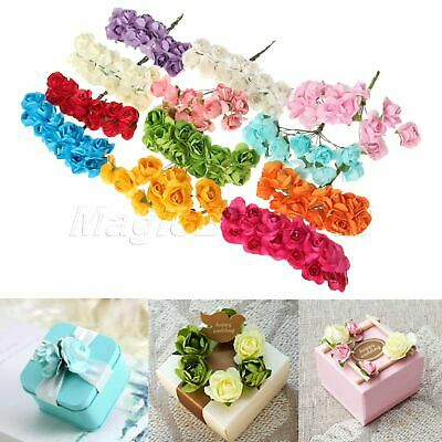 12/144pcs Assorted Rose Mulberry Paper Flower Cards Favours Crafts Embellishment