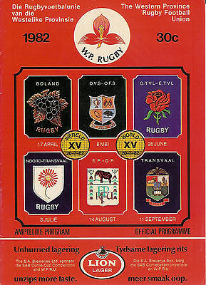 Western Province vOrange Free State - Currie Cup 8 May 1982 RUGBY PROGRAMME