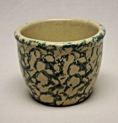 Vintage Robinson Ransbottom Co. 10 oz. Green Spongeware Kitchen Crock