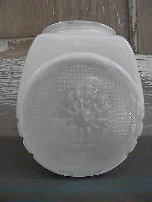 Vintage Retro Two-Tone White Clear Button Textured Globe Shade Light Cover