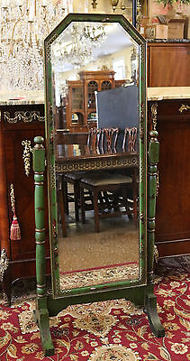 Gorgeous Original Finish Green Chinoiserie Cheval Mirror Looking Glass C1910
