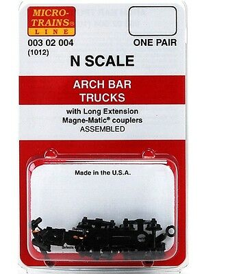 Micro Trains N 00302004 (1012) Arch Bar Trucks with Long Extension Couplers