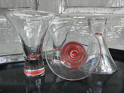 (4) Bacardi Razz Red Fluted Trumpet Cocktail Glasses