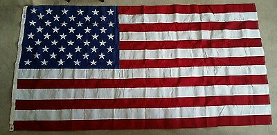 Vintage Large American Flag 50 Stars 5' X 9.5' by Flagsource 100% Cotton Bunting