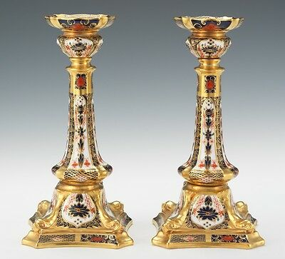 A pair of Royal Crown Derby Old Imari Large Candlesticks First Quality