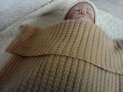 Made in Scotland Beautiful  100% CASHMERE  baby Blanket,   Natural