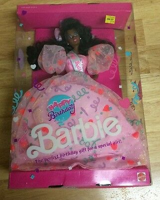 Mattel African American Happy Birthday Barbie Doll 1990 #9561