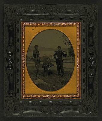 American Civil War,Unidentified Young Soldiers,Shotguns,Musket,Military,c1861