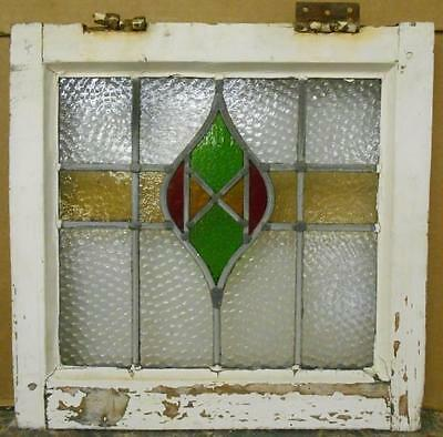 "OLD ENGLISH LEADED STAINED GLASS WINDOW Pretty Abstract 17"" x 16.75"""