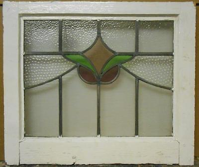 "MID SIZED OLD ENGLISH LEADED STAINED GLASS WINDOW Nice Floral Swag 24"" x 20.5"""