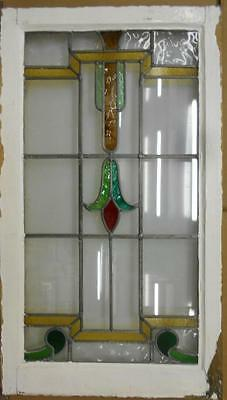"""LARGE OLD ENGLISH LEADED STAINED GLASS WINDOW Stunning Floral 20.5"""" x 36"""""""