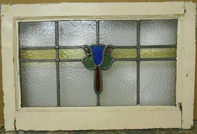"MID SIZED OLD ENGLISH LEADED STAINED GLASS WINDOW Floral Stripe 23.25"" x 15.5"""
