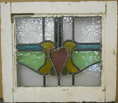 "OLD ENGLISH LEADED STAINED GLASS WINDOW Abstract Heart Design 18.75"" x 16.25"""