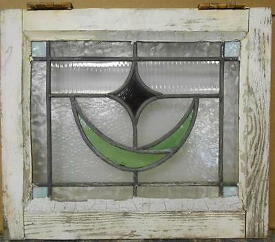 "OLD ENGLISH LEADED STAINED GLASS WINDOW Sweet Abstract Floral 18.25"" x 15.5"""