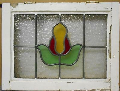 "OLD ENGLISH LEADED STAINED GLASS WINDOW Nice Floral Design 20"" x 15"""