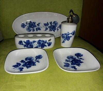 5 tlg. Frisier Set Toilettenset Bavaria Germany blau/ weiss