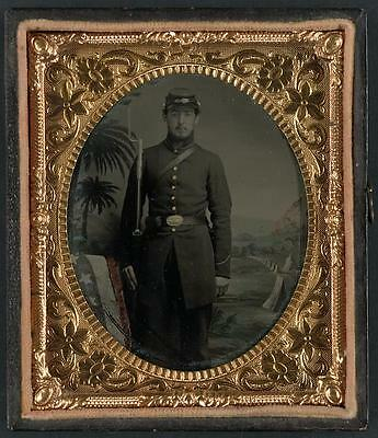 American Civil War,Unidentified Soldier,Bayoneted Musket,Palmetto Trees,Camp