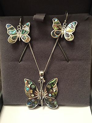 Tuscany Silver Sterling Silver Butterfly Earrings And Necklace Set