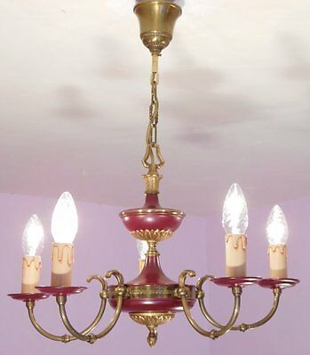 Gorgeous 5 Light Vintage French Empire Chandelier in Deep Red Tole